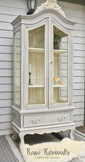 Large Provincial Grey and White Two Door Hutch Display Cabinet