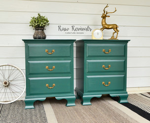 Vintage Three Drawer Pine Green Bedside Tables with Gold Brass Handles