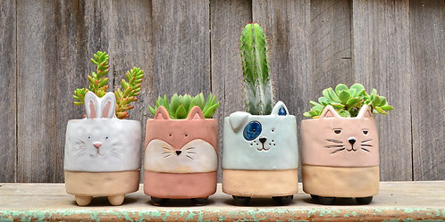Ceramic Colourful Footed Animal Planters Fox Rabbit Cat Dog