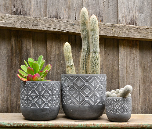 Matte Charcoal Grey Aztec Patterned Ceramic Planter