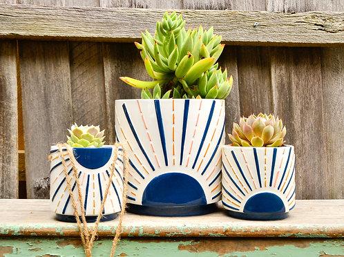 Modern Ceramic White and Navy Sunrise Planter Pot
