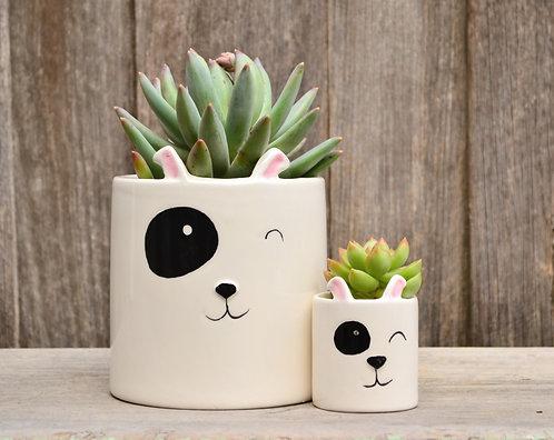 White Ceramic Hand Painted Dog Planters Plant Pots