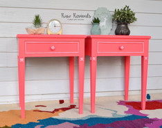 Vintage Vibrant Coral Bedside Table Tables with White Accents