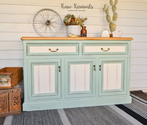 Large Distressed Mint and White Three Door Timber Buffet