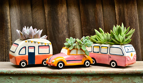 Retro White Hand Painted Vehicle Pot Planters - Beetle - Kombi Bus - Caravan