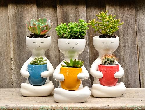 Modern White Ceramic Person with Pot Dual Pot Planter