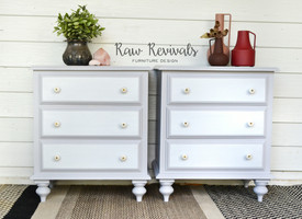 Large Grey and White Three Drawer Bedside Tables