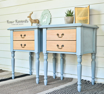 Large Two Drawer Glazed Pastel Blue & Timber Bedside Tables