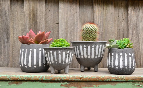 Ceramic Charcoal Grey and White Textured Pot Planter
