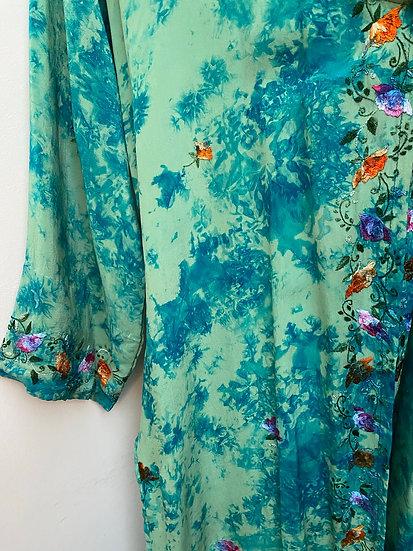 Midi Joy Robe - Aqua Bouquet