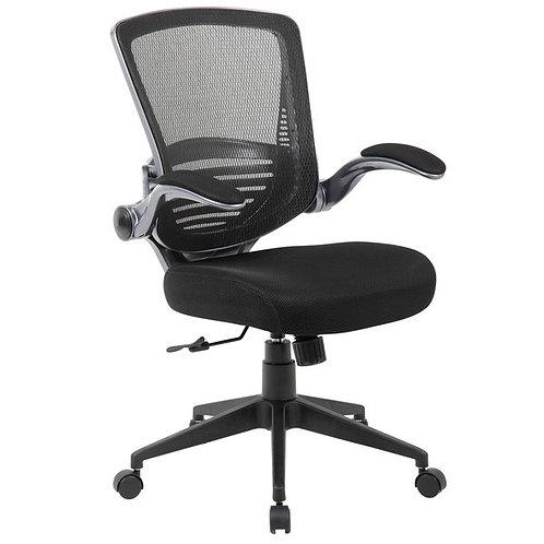 Black Mesh Back Flip Arm Chair