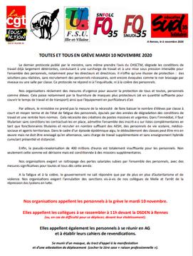 Rassemblement : mardi 10 novembre 11h DSDEN