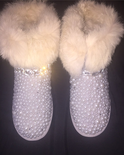 Bling fur boots