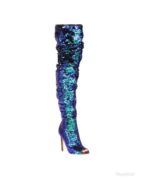 sequin thigh high boots