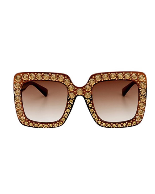 Brown Gold Bling Sunglasses