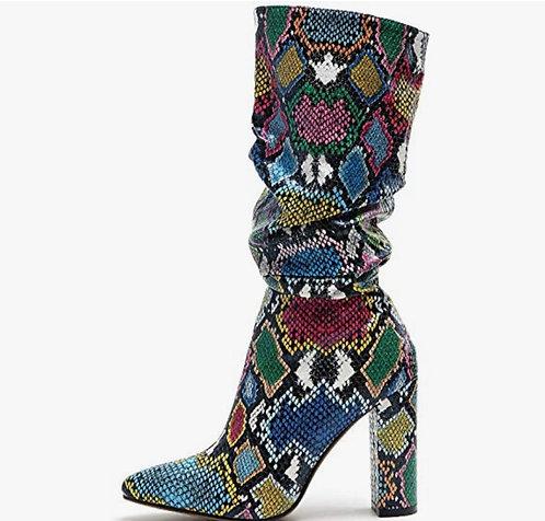 multicolored mid boot
