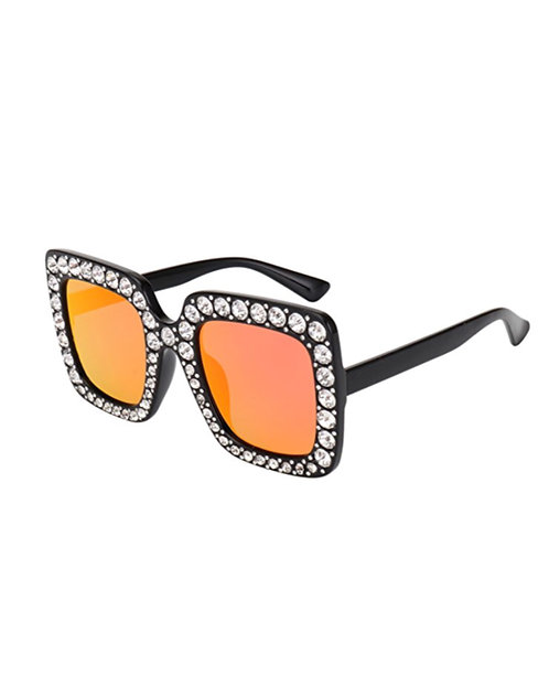 Black with orange tint Bling Sun glasses