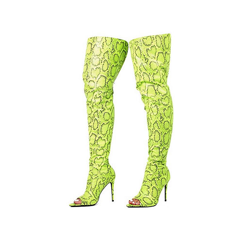 Lime Green Snake Skinned thigh Boots Peep Toe