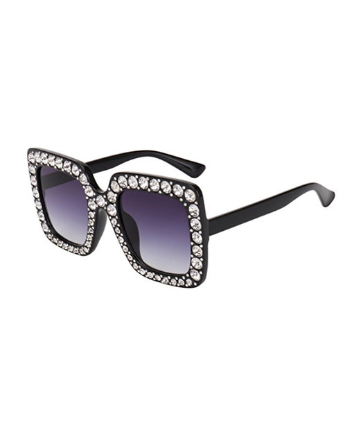 Black with purple tint Bling Sunglasses