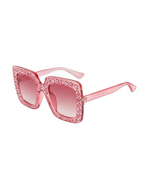 Large Pink Bling Sun Glasses