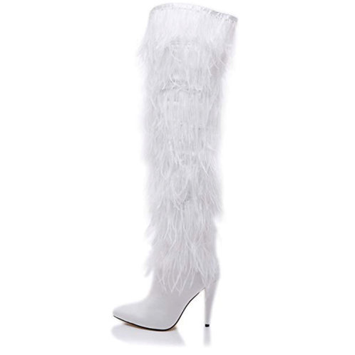 White ostrich feather over the knee boots