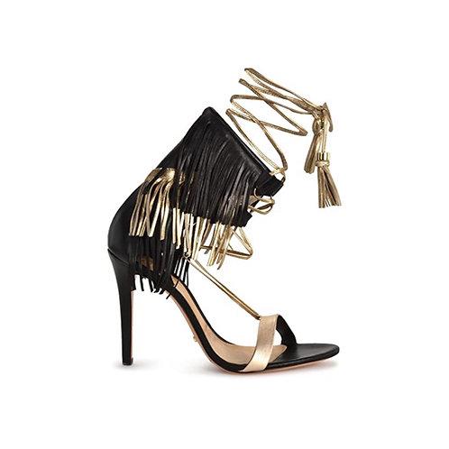 Black and Gold Fringe Sandal