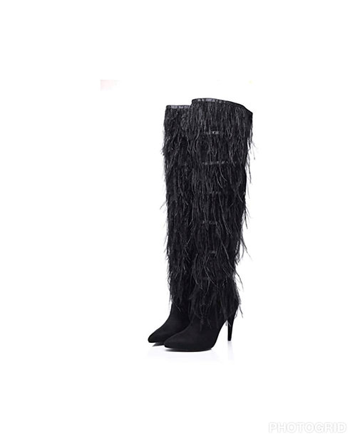 Black Ostrich feather over the knee boots