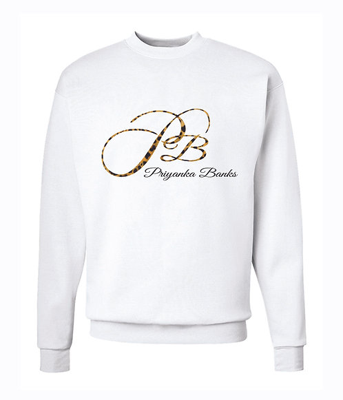 White PB Sweatshirt with Leopard