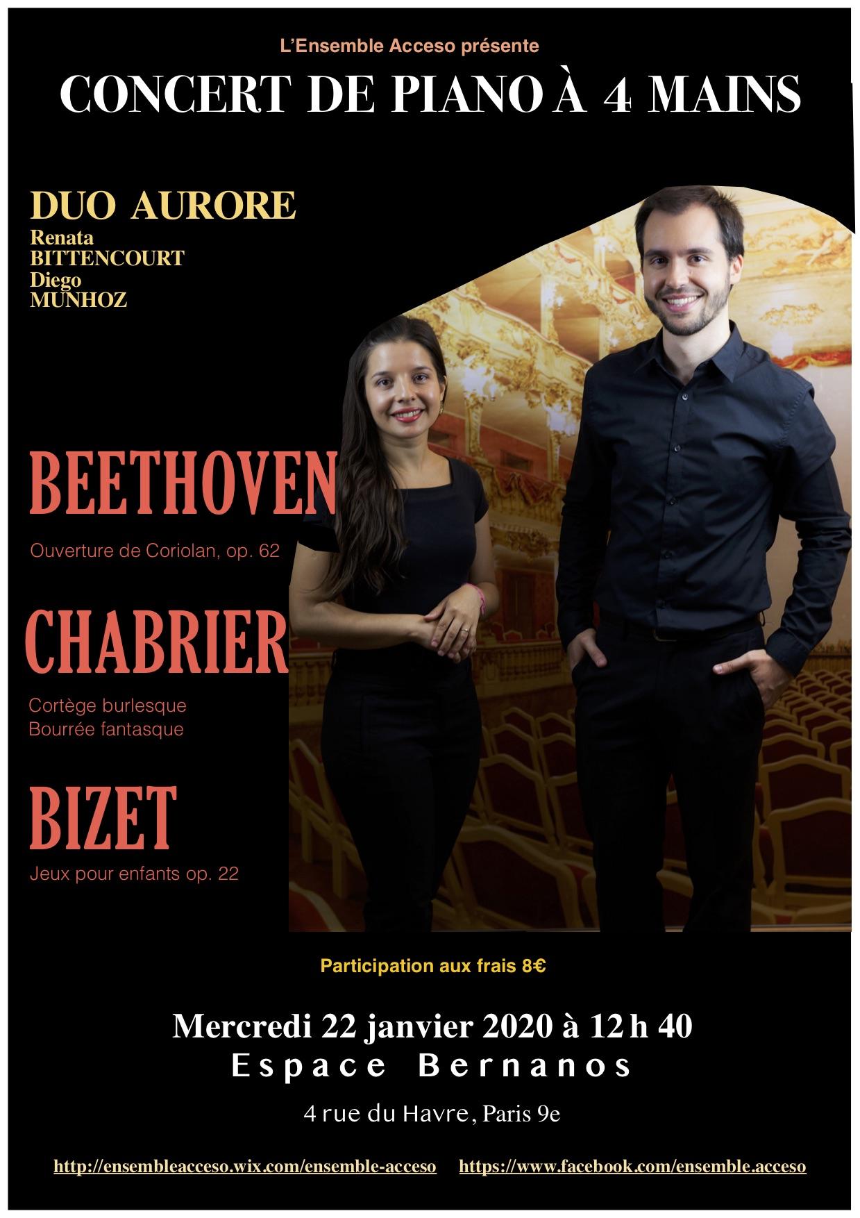 Affiche concert 22 janvier 2020 Duo Auro