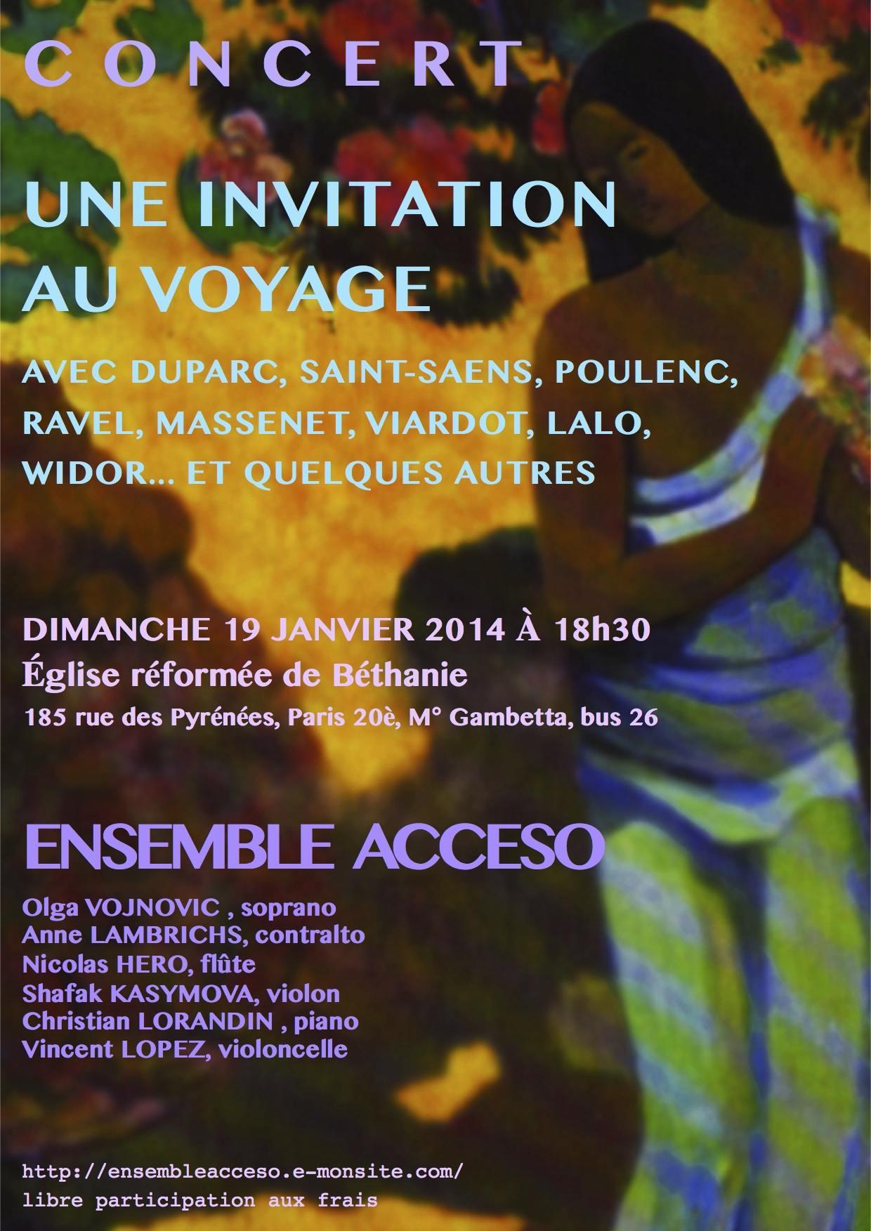 Concert Paris 19 janvier 2014