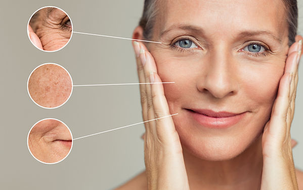 Close ups of wrinkles and skin imperfect