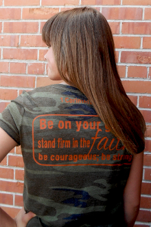 Strong In The Lord Women's Tee- Camo & Orange
