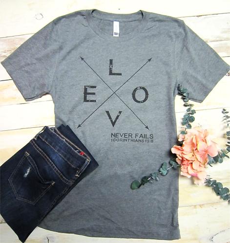 Love Never Fails Women's Christian T shirt- Heather Gray