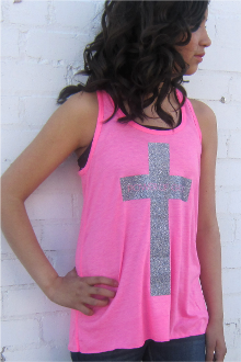 Power Of God Women's Flowy Tank- Neon Pink & Charcoal