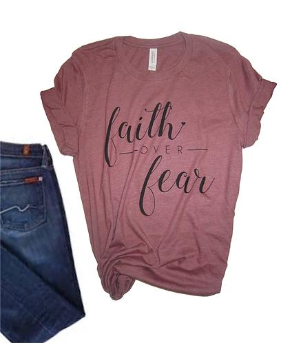 Faith Over Fear Women's Christian T shirt- Heather Mauve