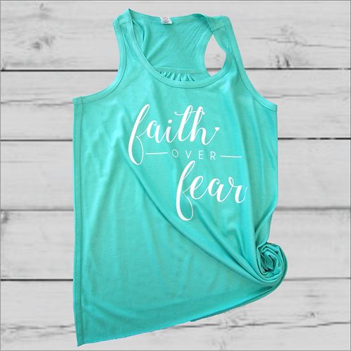 Faith Over Fear Girls Flowy Tank Top-Teal