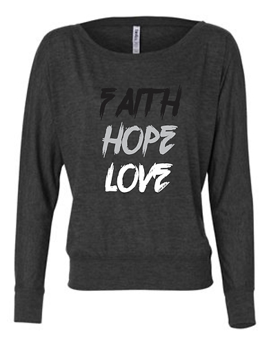 Faith Hope Love Dk Gray Heather Long Sleeve Tee