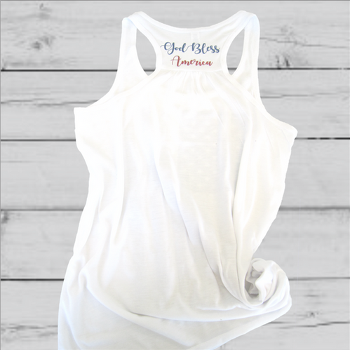 ebba97a3fe81d9 God Bless America Flowy White Tank Top
