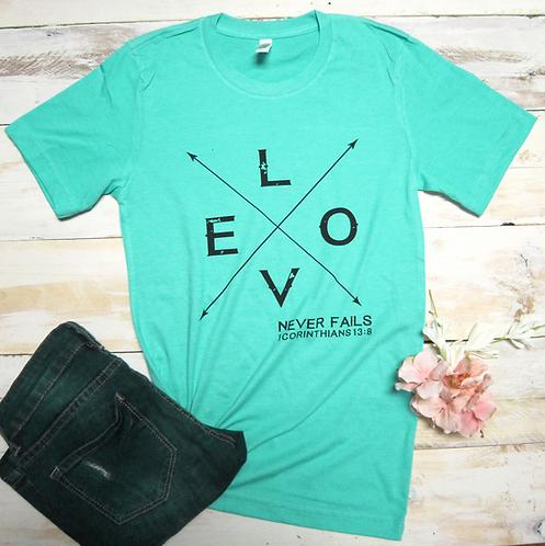 Love Never Fails Women's Christian T shirt- Heather Sea Green