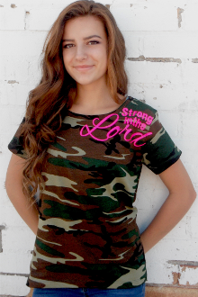 Strong In The Lord Women's Tee- Camo & Pink
