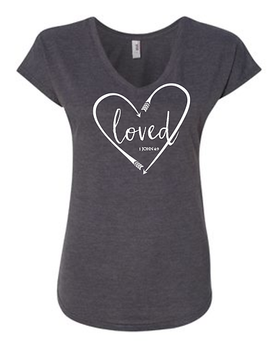 Loved Charcoal V-Neck Tee
