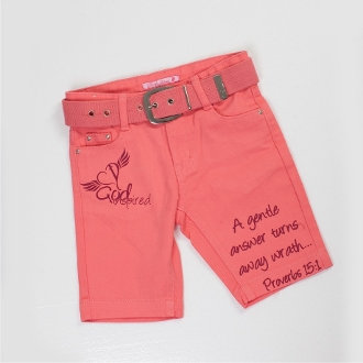A Gentle Answer Turns Away Wrath Bermuda Shorts- Coral