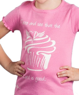 The Lord Is Good Toddler Girl's Cupcake Tee