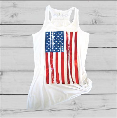 God Bless America Flowy White Tank Top
