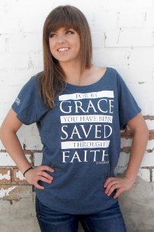 Saved Through Faith Women's Tee- Indigo or Maroon
