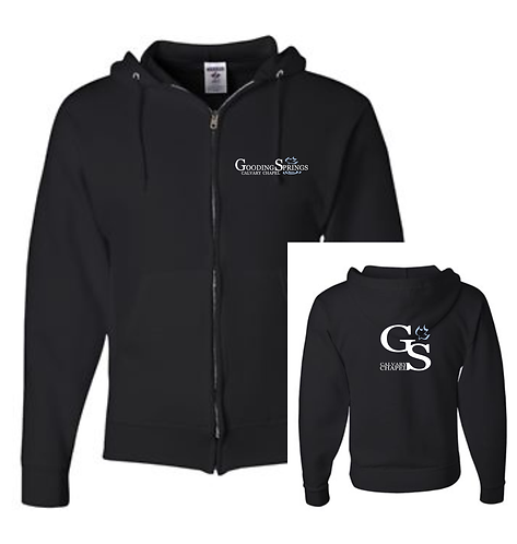 Adult Black Zip Up Hoodie