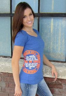 Fear No Evil Women's Christian Tee- Blue & Orange