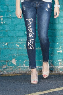 Proverbs 4:23 Women's Christian Skinny Jeans