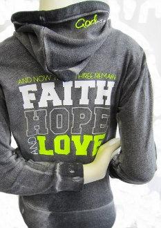 Faith Hope And Love Women's Zip Up Hoodie- Graphite