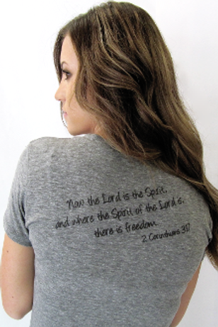 Where The Spirit Of The Lord Is There Is Freedom Tee- Charcoal